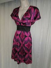 EXPRESS Womens S 4 6 Pink Purple Black Silk V Neck CAREER PARTY Tunic Mini Dress