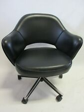 Genuine Knoll Saarinen Executive Arm Chair With Swivel Base In Volo Black Leather