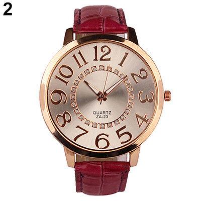 Fashion Unisex Men Women Big Numerals Rhinestone Faux Leather Analog Wrist Watch