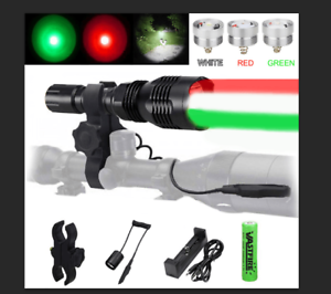 VASTFIRE 400 Yard Green Varmint Hunting LED Flashlight 3 In 1 Torch Mount+18650