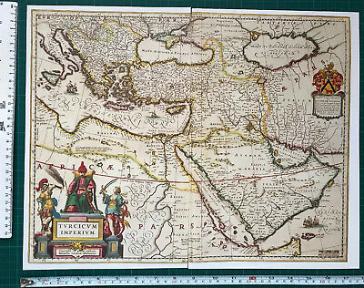 Antique vintage Old Blaeu Map of the Caribbean 1600/'s REPRINT 1634 South America