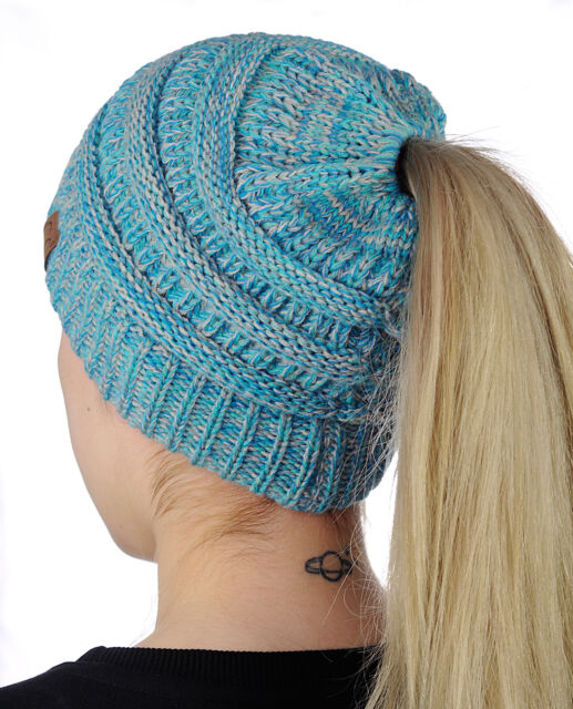 f6580ab3235d97 Aqua Blue Mix CC Beanietail Ponytail Messy High Bun Knit Beanie Hat NW  Indiana