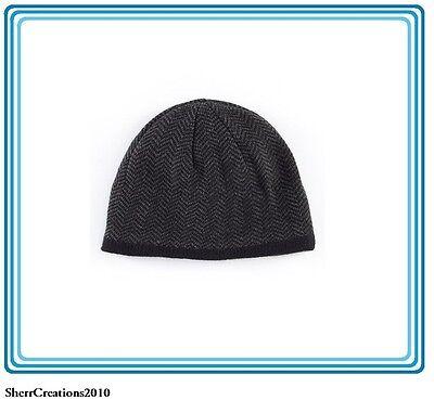 9 Mens Herringbone Knit Beanie Hat Apt Black