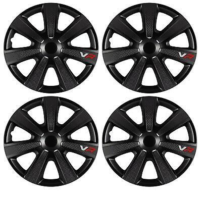UKB4C 16 4 x Alloy Look Black Multi-Spoke Wheel Trims Hub Caps Covers Protectors