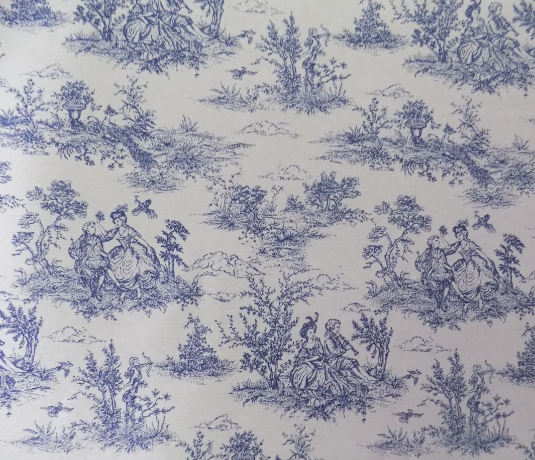 Toile de Jouy Blau Blau Bed Runner  Fully Lined. Hand made to order. New