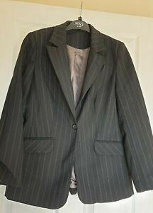 Excellent-Condition-Principles-Black-Pinstripe-Suit-Jacket-Size-12