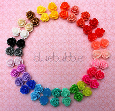 FUNKY VINTAGE 10mm ROSE EARRINGS 28 COLOURS CUTE KITSCH RETRO BOHO CHIC EMO GIFT