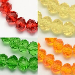 100pcs RONDELLE FACETED GLASS CRYSTAL BEADS Orange Red AB 6mm