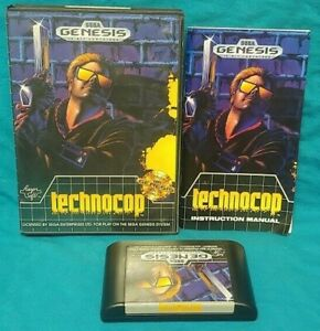 Technocop-Sega-Genesis-Working-Box-Cover-Art-Manual-Game-Tested-Complete