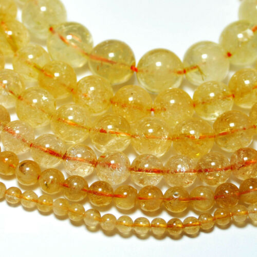 Citrin Perle Kugel glanz goldgelb 2-12 mm 1 Strang BACATUS Edelsteine #4311