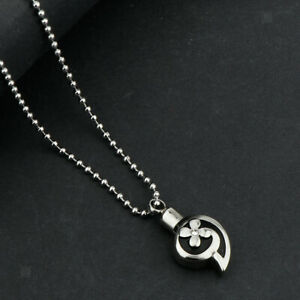 Flower-Heart-Pet-Cremation-Ash-Urn-Memorial-Pendant-Necklace-Jewelry-Silver