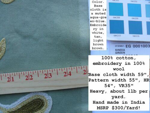 2Y SCALAMANDRE SINDIA IN GREEN AQUA BLUE WOOL CREWEL MSRP$300//y