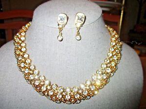 ab28fac26099 Image is loading Vtg-Signed-Swarovski-Cabochon-Set-Crystal-Collar-Necklace-