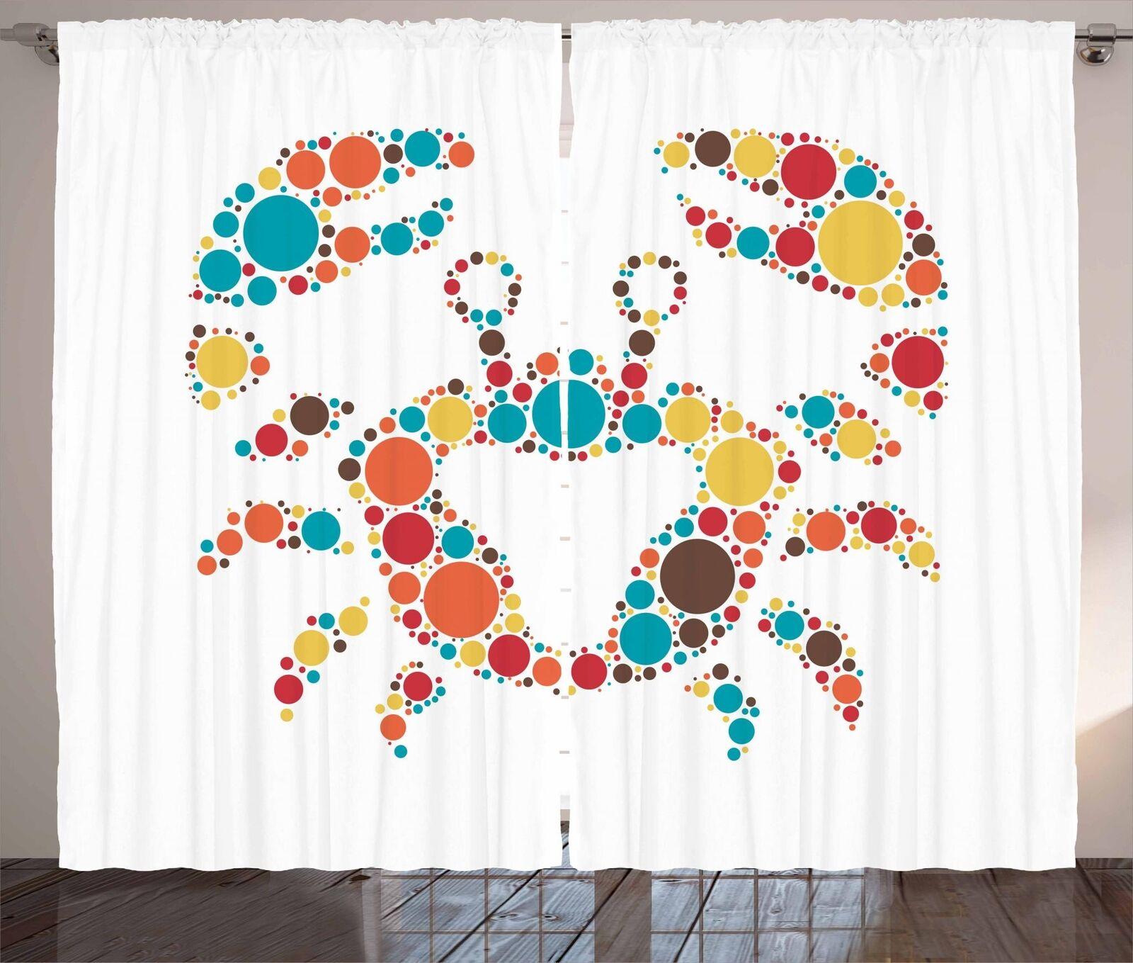 Set cortinas de panel 2 para cangrejos Decoración 5 Tamaños Disponibles Ventana Cortinas