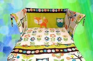 Owl Cot Bedding Set Lime Green Blue Fox Tree Forest Unisex