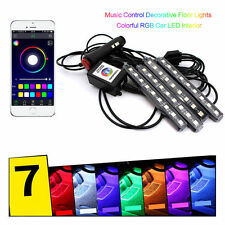 4x 9LED Remote Control Colorful RGB Car Interior Floor Atmosphere Light Strip BF