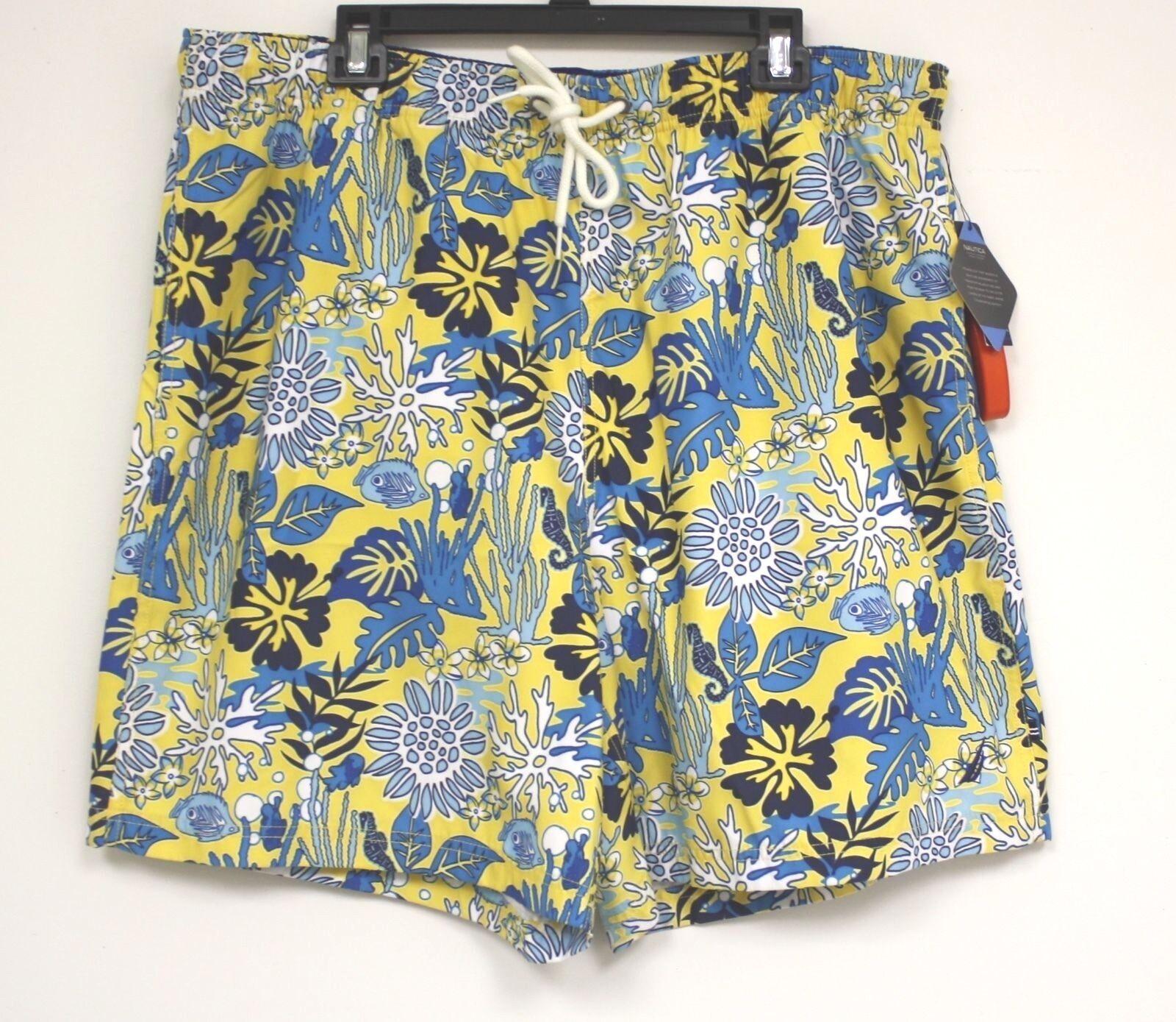 Nautica Swimsuit Swim Trunks Yellow with bluee fish NEW nautical Coral SunFish