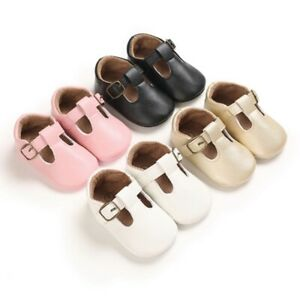Newborn Baby Shoes Pu Leather Soft Sole Non Slip First Walkers Infant Flat Shoes Ebay