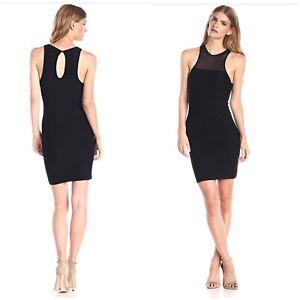 BCBGeneration-Sz-M-L-Black-Mesh-Yoke-Bodycon-Bandage-Stretch-Sleeveless-Dress