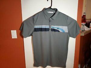 Travis-Mathew-Golf-Polo-Shirt-Gray-Blue-Mens-Large-L-100-Polyester