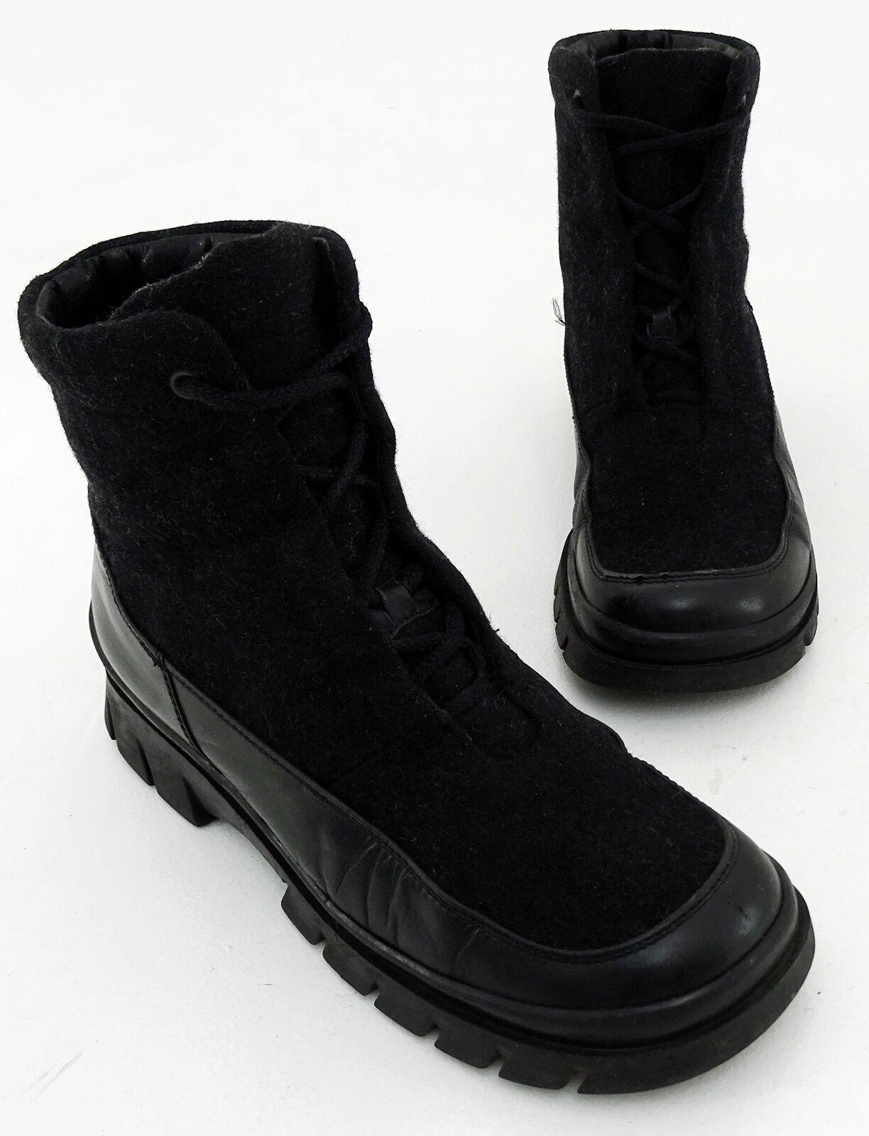 Boots Gabor Stiefeletten Schnürer Echtleder Textil schwarz grau Gr. 4,5 = 37,5
