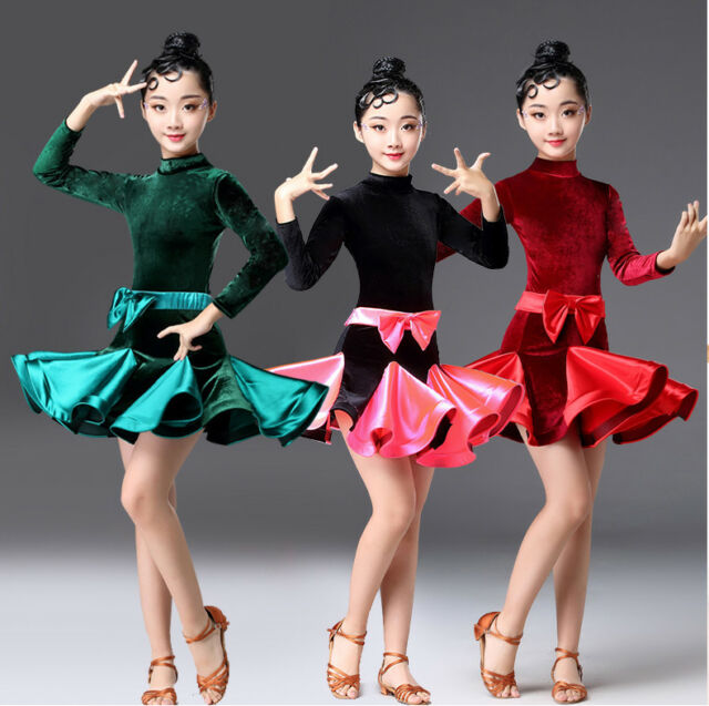 Kids Girls Latin Dance Dress Ballroom Long Sleeves Costume Competition Stage B98