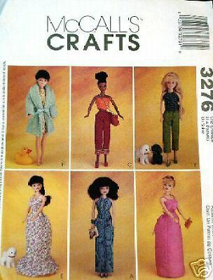 "Reduced! McCALL/'s 3276 11½"" Fashion Doll CLOTHING 2001 PATTERN"