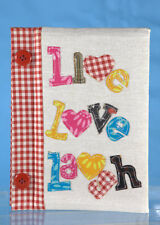 Notebook Journal paper lined 'LIVE LOVE LAUGH' cute fabric book FREE SHIPPING