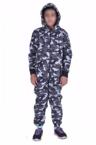 Kids Army Camo Print One pc Hooded Jumpsuit Boys Girls Fleece Tracksuit Age 713