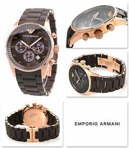 NUOVO-ORIGINALE-EMPORIO-ARMANI-AR5890-rose-oro-in-silicone-Chrono-Orologio-Da-Uomo-Rrp-389