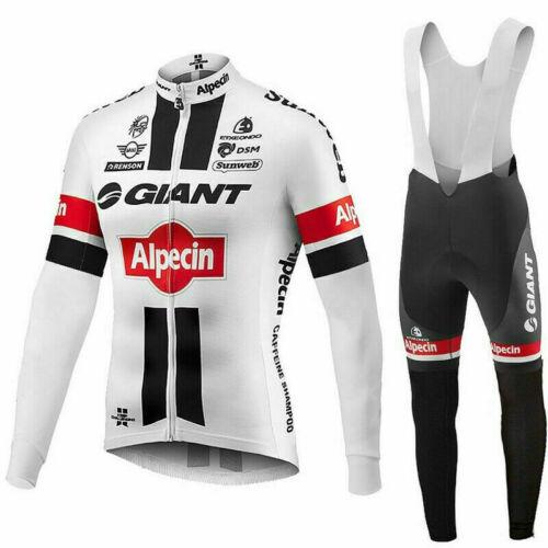 GIANT Men/'s Cycling Jersey Suit Bike Racing Long Sleeve Gel Bib Pants Set