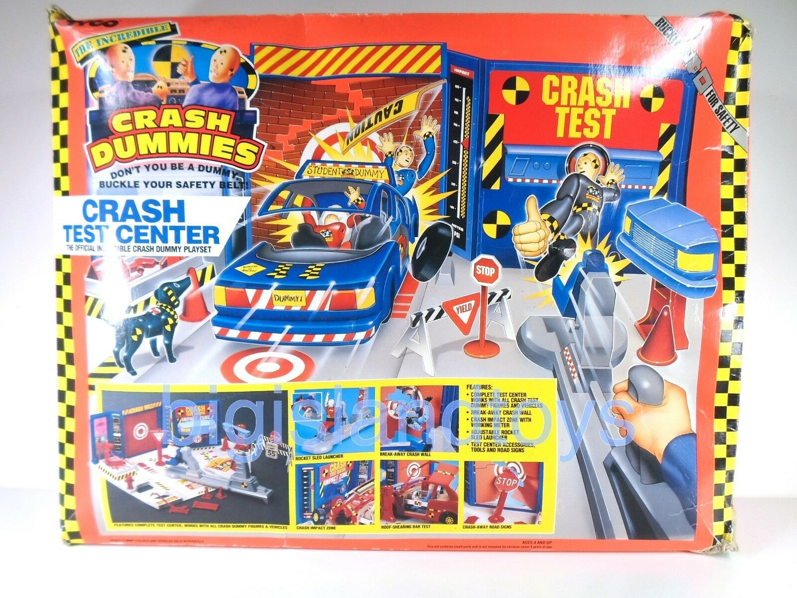 Dummies tyco 1991 crash - test - center action - figur playset abgeschlossen