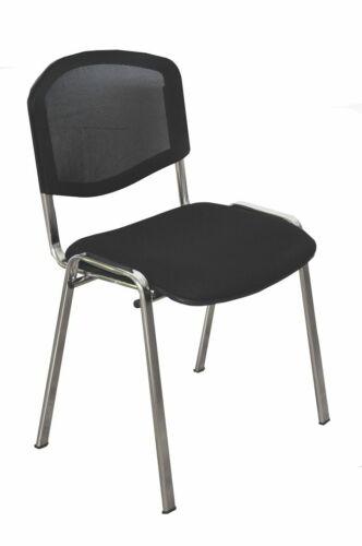 Gästestuhl chromgestell Stapelstuhl schwarzes Netz ISO Besucherstuhl
