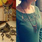 Antique Steam Vintage Bronze Lock Skeleton Heart Keys Pendant Necklace Punk New