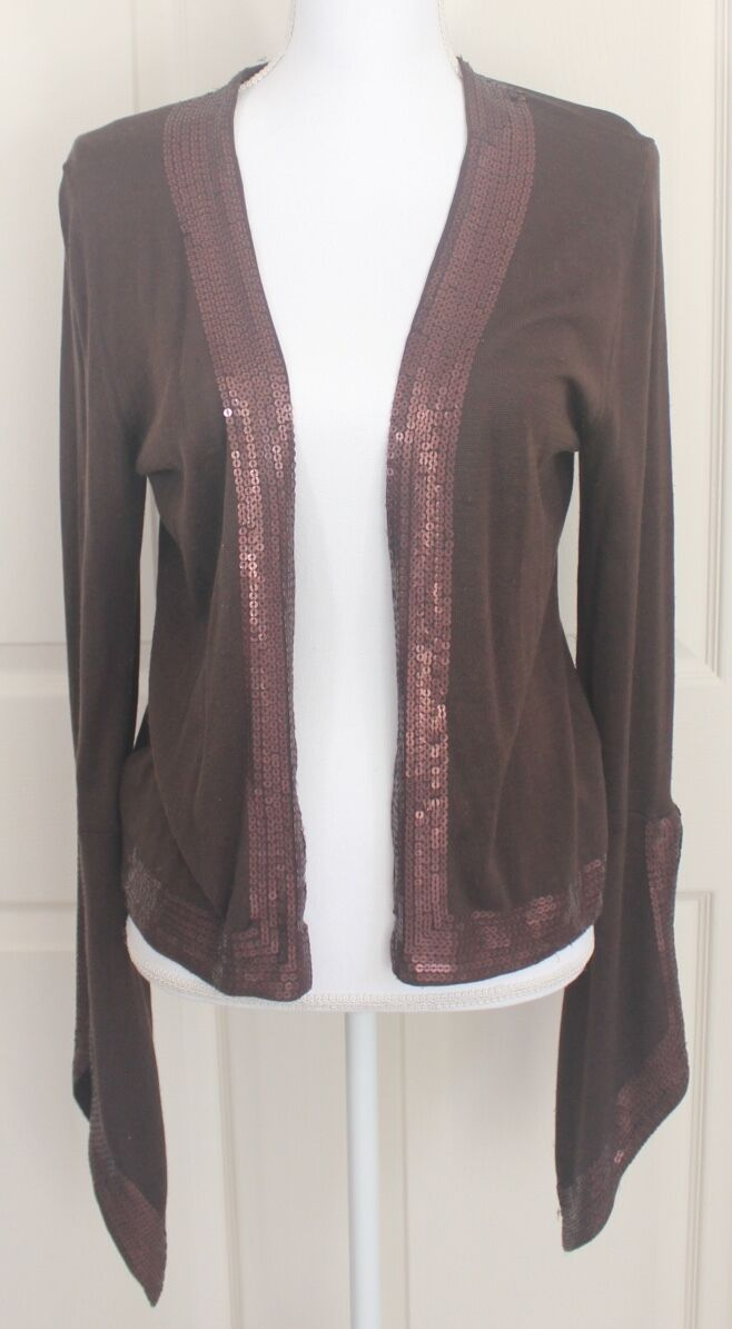 Nordstrom Chocolate Brown Sequin Spun Silk Open Cardigan Holiday Sweater Sz M L