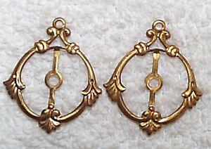 Vintage 1940/'S open cut work flat back brass jewelry stampings findings 8 PCS