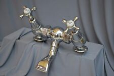 CHROME RETRO BATH MIXER / FILLER TAPS LARGE TAPS RECLAIMED / FULLY REFURBED