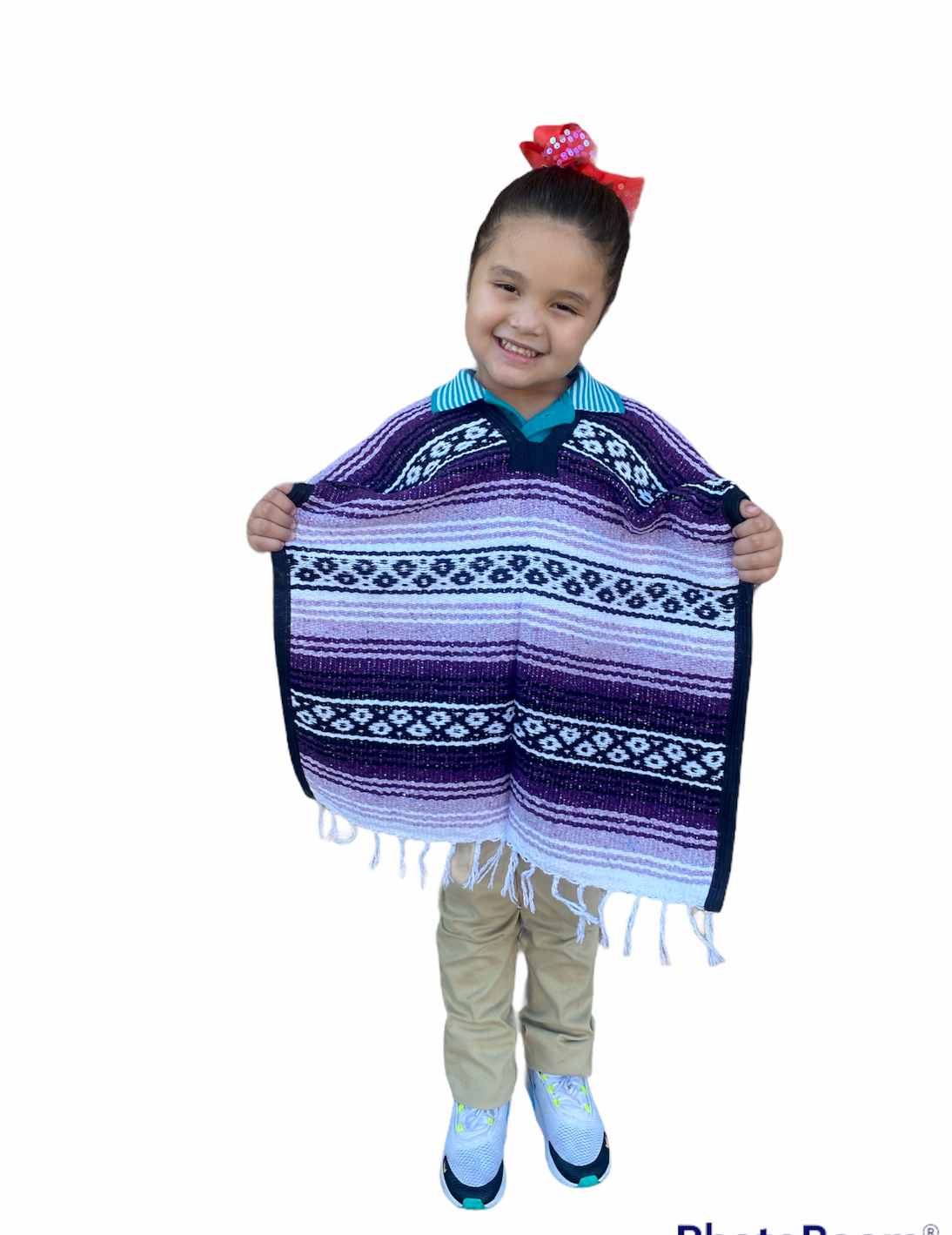 MEXICAN KIDS PONCHO , FALSA , COSTUME ,BLANKET SERAPE GABAN ,KIDS 5 - 9 ,PURPLE