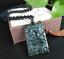 Schwarzer Jade Stein Drachenkopf Anhänger grün im Licht mit Perlen Halskette WoW