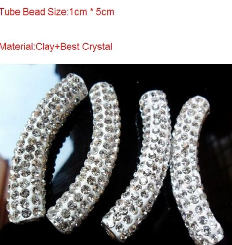 25pcs//lot 45 mm Blanc Disco Pave Clay bracelet À faire soi-même Cristal Shamballa Perles Tube
