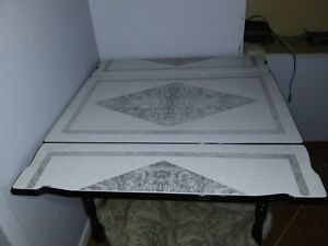 VINTAGE ART DECO PORCELAIN ENAMEL KITCHEN TABLE - Black, Grey, & White   eBay