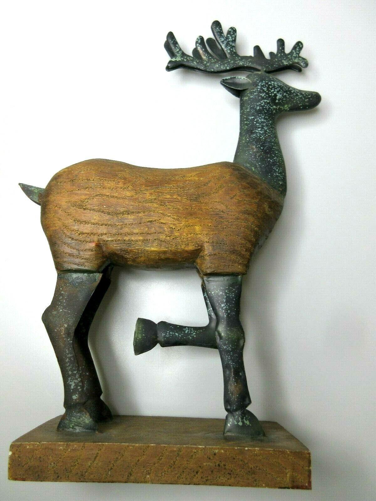 Vintage Handmade Deer Reindeer Statue Solid Wood Metal Rustic Primitive 16 x 12