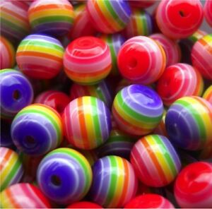 100 BEAUTIFUL HIGH QUALITY PRETTY MIXED COLOURED STRIPED ROUND BEADS 8mm