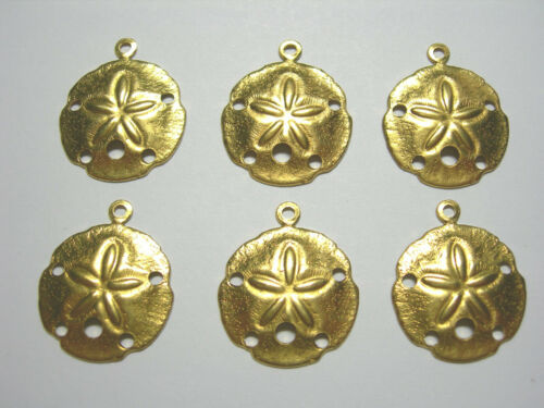 Raw Brass Sand Dollar Charms Drops Earring Findings 6