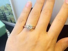 1 Carat D VS2 Enhanced Diamond Engagement Ring Round Cut 14K White Gold Toned