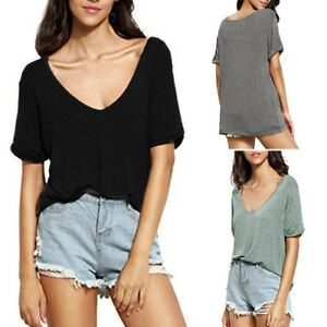 Women S Summer V Neck Solid Short Sleeve Loose Casual Tops Tee T