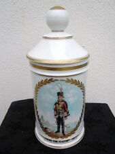 Pot porcelaine de Warin Rapeaud décor soldat Aide de camp 1809 Pot pharmacie