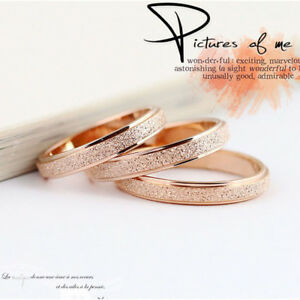 Fashion-Stainless-Steel-Rose-Gold-Silver-Frosted-Women-Wedding-Band-Ring-Sz5-13