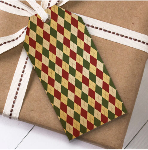 Present Favor Labels Vintage Diamond Pattern Christmas Gift Tags