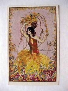 1920-30s-Vintage-Deco-Spanish-Flamenco-Vancer-Colorful-Artist-Signed-Postcard